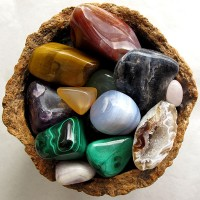 an assortment of polished gemstones