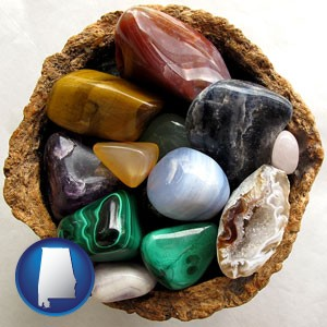 an assortment of polished gemstones - with Alabama icon