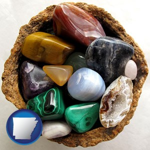 an assortment of polished gemstones - with Arkansas icon