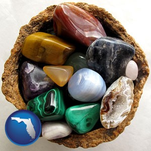 an assortment of polished gemstones - with Florida icon
