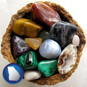 an assortment of polished gemstones - with Georgia icon