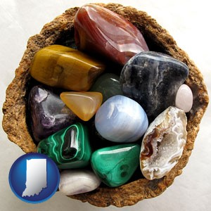 an assortment of polished gemstones - with Indiana icon