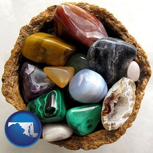 an assortment of polished gemstones - with Maryland icon