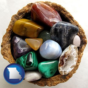 an assortment of polished gemstones - with Missouri icon