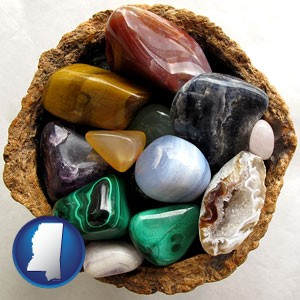 an assortment of polished gemstones - with Mississippi icon