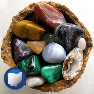 an assortment of polished gemstones - with Ohio icon
