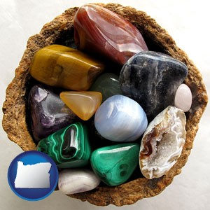 an assortment of polished gemstones - with Oregon icon