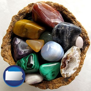 an assortment of polished gemstones - with Pennsylvania icon