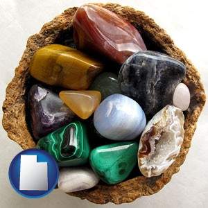 an assortment of polished gemstones - with Utah icon
