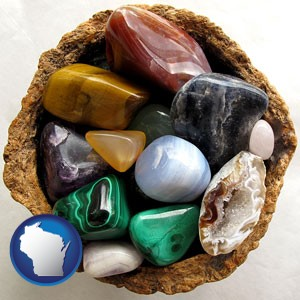 an assortment of polished gemstones - with Wisconsin icon